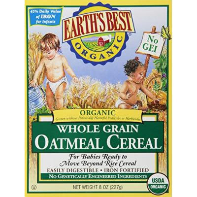 Earth's Best Certified Organic Whole Grain Oatmeal Cereal -- 8 oz Each / Pack of 2