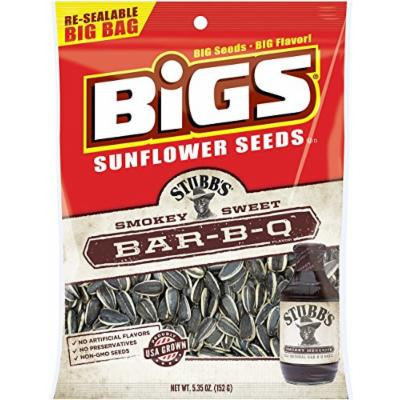 BIGS Stubb's Smokey Sweet Bar-B-Q Sunflower Seeds, 5.35-ounce bags (Pack of 3)
