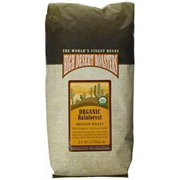 high desert roasters organic whole beans, 2.5 lbs. peruvian, medium roast.