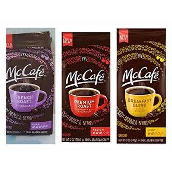 McDonalds McCafe Ground Coffee Variety Bundle, 12 oz (Pack of 3) includes 1-Bag Premium Roast, Medium + 1-Bag Breakfast Blend, Light + 1-Bag French Roast, Dark