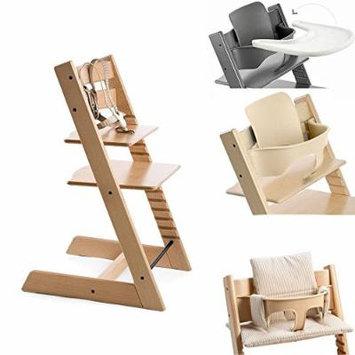 Stokke Tripp Trapp Chair w Baby Set, Stokke Tray & Beige Stripe Cushion (Natural)