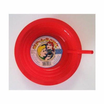 Red Sip-A-Bowl Cereal Bowl with Straw