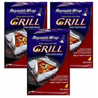 3 Packs Reynolds Wrap Extra Heavy Duty Foil Grill & Oven Bags Total 12 Bags