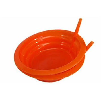 Good Living Set of 2 Sip-A-Bowl Cereal Bowls With Built-In Straw, Orange, 1-pack