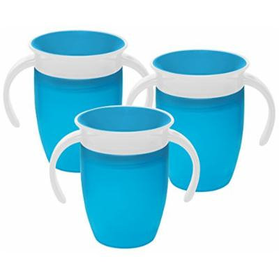Munchkin Miracle 360 Degree 7 Ounce Spoutless Trainer Cup, 3 Pack, Blue/Blue/Blue