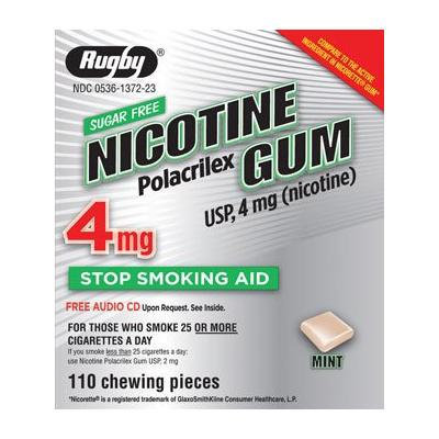 NICOTINE GUM RUGBY MINT 4 mg 110 (Compared to Nicorette Gum)