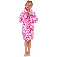 Little Girl's Soft Robe in Quality Polyester, Double Pockets, Dark Leopard, S