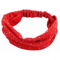 Simplicity Women's Sparkling Rhinestone Gem Elastic Stretchy Wide Headband, Red
