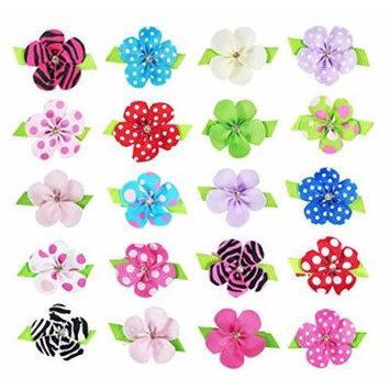 HipGirl Girls Mini Bow Tie, Mini Pinwheel Hair Bow Clips, Barrettes (20pc 1.5