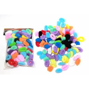 100 Terry Elastic SMALL Ponytail Braided Hair Holder MULTI COLOR PACK