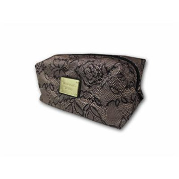 Victoria's Secret Women's Cosmetic Makeup Bag Gold Brown Leaves Print