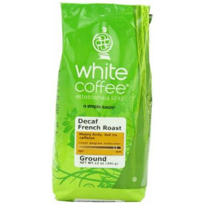 White Coffee Decaf French Roast Ground Coffee, 12 Ounce