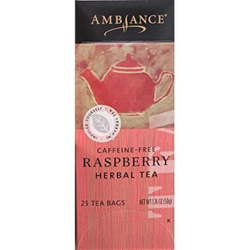 1.76oz Ambiance Raspberry Herbal Tea, Caffeine Free, 25 Tea Bags (One Box)