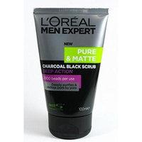 L'oreal Men Expert Pure & Matte Charcoal Black Scrub( 100ml net :Pack of 2)