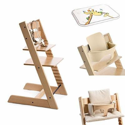 Stokke Tripp Trapp Chair w Baby Set, Stokke Table Top & Beige Stripe Cushion (Natural)