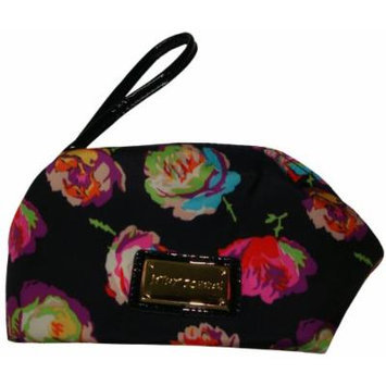 Betsey Johnson Women's Box Wristlet Cosmetic, Small, Fringy Floral Black