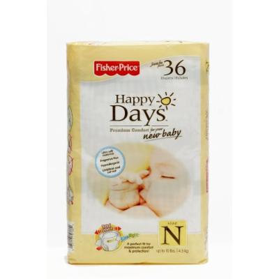 Fisher Price Happy Days Baby Diapers Jumbo Pack, Newborn, 36 Count (Pack of 6)