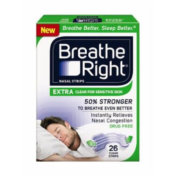 (104 Strips) Breathe Right Nasal Strips EXTRA CLEAR For SENSITIVE SKIN