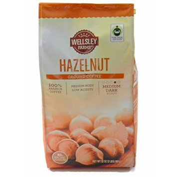Wellsley Farms Hazelnut Ground Coffee Medium Dark Roast Rich and Flavorful, 2 Lbs