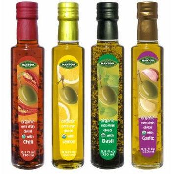 Mantova Garlic,Basil,Chili,Lemon Organic Extra Virgin Olive Oil, 8.5-Ounce Bottles (Pack of 4)