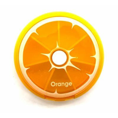PuTwo Pill Box 7 Day Round Tray Medicine Vitamins Container Storage Dispenser, Orange, 2.89 Ounce
