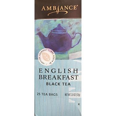 2.0oz Ambiance English Breakfast Black Tea, 25 Tea Bags (One Box Per Order)