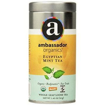 Ambassador Organics Biodynamic Egyptian Mint Tea, Whole-leaf Loose, 1.45 Ounce Tins (Pack of 2)