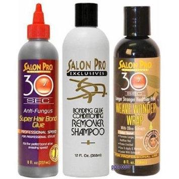 Salon Pro 30 Sec Weave TRIO SET (Shampoo, Glue, and Wonder-Wrap) Plus Free of Apple EYE Pencil Color: Sky