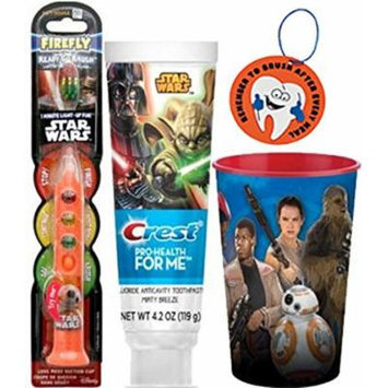 Star Wars BB-8 3pc Bright Smile Oral Hygiene Set! (1) Star Wars Light up Toothbrush (1) Minty Breeze Toothpaste & Mouthwash Rinse Cup!