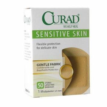 Curad Sensitive Skin Gentle Fabric Bandage Spots, 1 inch diameter (25 mm) 50 ea Pack of 4