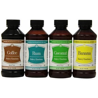 Lorann Oils Coconut, Banana, Rum & Coffee Bakery Emulsion Bundle 4 Fluid Ounces Each