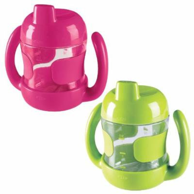 OXO Tot Sippy Cup with Handles - 2 Pack, Pink/Green, 7 Ounce