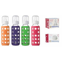 Lifefactory Glass Baby Bottles 4 Pack Combo (9 oz. in Girl Colors)