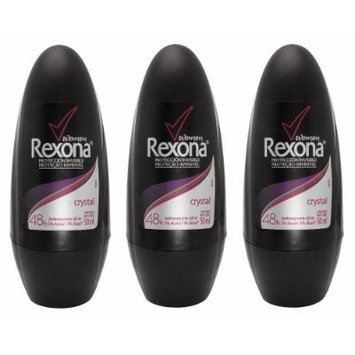 Rexona Women Crystal Invisible Protection 48h Anti-perspirant Deodorant Roll-on 50ml (1.7 Fluid Ounce). (Pack of 3)