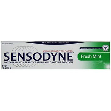 Sensodyne Toothpaste Sensitive Teeth Cavity Prevention, Maximum Strength Fresh Mint, 4 oz (Pack of 3)