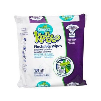 Kandoo Flushable Wipes, Unscented 100 Ea