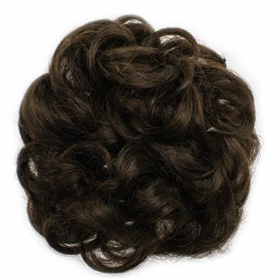 Onedor Ladies Synthetic Wavy Curly or Messy Dish Hair Bun Extension Hairpiece Scrunchie Chignon Tray Ponytail (6#-Chestnut Brown)