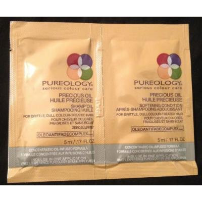 Pureology Precious Oil Shamp'oil and Softening Condition Travel Packets .17 Oz Each (Pack of 12)