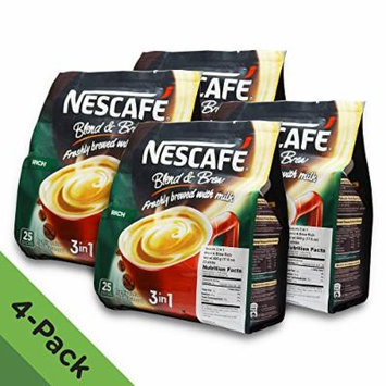 4 PACK - Nescafé 3 in 1 RICH Instant Coffee (100 Sticks TOTAL) ★ Made from Premium Quality Beans ★ Offers a Relaxing Flavor But with Strong, Solid Essence and Aroma ★ Has a Richer Taste than Nescafé 3 in 1 Original ★ Serve Hot or Cold ★ From Nestlé...