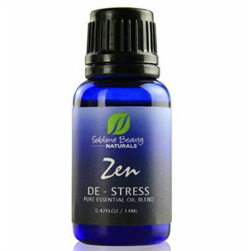 Zen DE-STRESS Essential Oil Blend. Aromatherapy & Topical Use to Ease Pain & Stress. 0.48 oz. Includes Organic Lavender, Clary Sage & Roman Chamomile, Organic Jojoba + Sunflower Oil