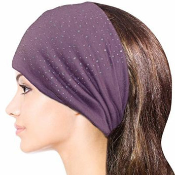 Sparkling Rhinestone and Dots Wide Elastic Headband - Purple