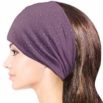 Sparkling Rhinestone and Dots Wide Elastic Headband - Purple