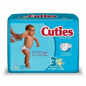 Cuties Premium Baby Diapers, Size 3, 36 Ea (Pack of 4)