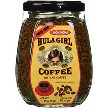 100% Hula Girl Freeze Dried Hawaiian Instant Kona Coffee Glass Jar (50 Grams - 1.75 Ounce)