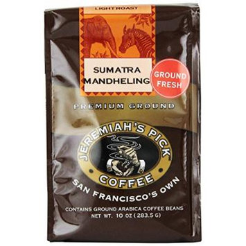 Jeremiah's Pick Coffee Sumatra Mandheling Ground Coffee, 10-Ounce Bags (Pack of 3)