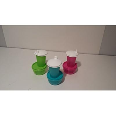 Sippy Cup Tupperware Tumbler Small Bottles with Domed Lids and Snack Bowls Muti Colored 6 Piece Set