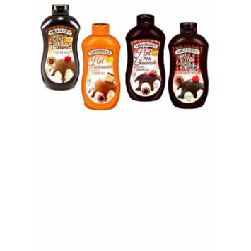 Smuckers Heat & Pour Ice Cream Toppings VARIETY PACK: 1 Squeeze Bottle of HOT FUDGE TOPPING, 1 HOT CARAMEL TOPPING, 1 HOT BUTTERSCOTCH TOPPING & 1 HOT MILK CHOCOLATE TOPPING. Microwaveable. 15 oz. (4 PACK)