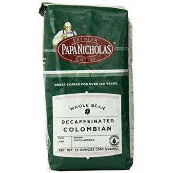 PapaNicholas Coffee Whole Bean Coffee, Decaffeinated, Colombian, 12 Ounce