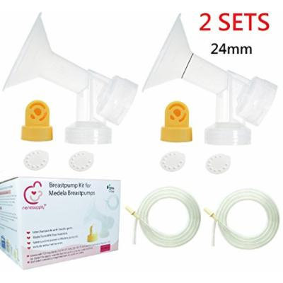 Nenesupply Pump Parts for Medela Pump In Style Breastpump PISA 4 Medium 24mm Breastshield 4 Valve 8 Membrane 4 Tubing Not Original Medela Pump Parts Not Original Medela Breastshield