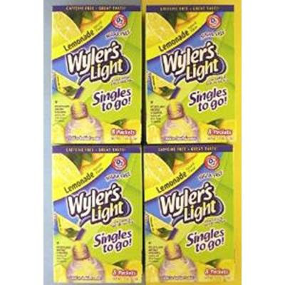 Wyler's Light Singles to Go Low Calorie Soft Drink Mix - 10 Packets Per Box - (4 Boxes) (Lemonade)
